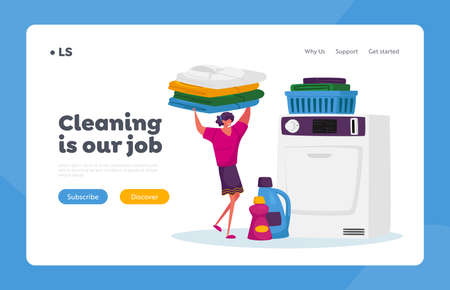 Industrial Launderette Cleaning Service Landing Page Template. Character in Public Laundry Carry Clean Clothes in Basket