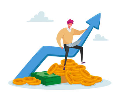 Tiny Business Man in Casual Clothing Work on Laptop Sitting on Huge Growing Arrow with Coins and Banknotes Below