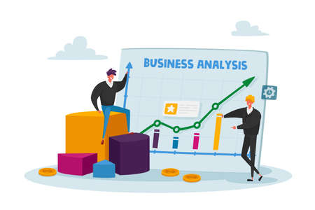 Tiny Business Characters Stand at Huge Analytics Graph with Growing Arrow and Financial Statistics, Analysing Big Data
