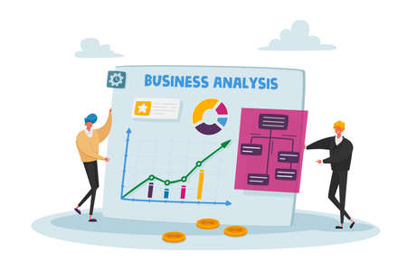 Business People Characters at Huge Statistics Chart, Office Employees Data Analysis, Project Management, Consulting, Marketing