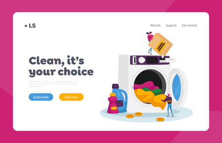 Launderette Cleaning Service Landing Page Template. Characters in Public Laundry Loading Dirty Clothing to Laundromat 矢量图像