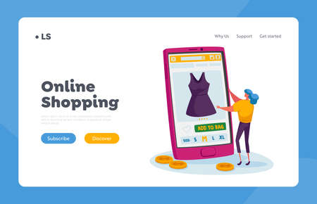 Tiny Female Character Choose Dress on Huge Smartphone Landing Page Template. Online Shopping. Girl Buy Apparel at Gadget