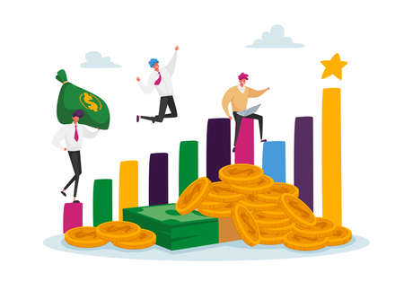 Profitable Investments, Company Success Concept. Joyful Business Men Characters at Huge Growing Column Graph with Money