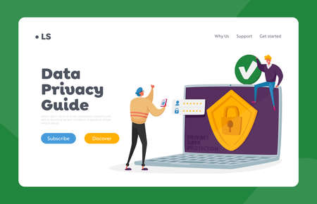 Privacy Data Protection Landing Page Template. Verification, Secure Account Access, Data Security or Privacy in Internet