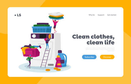 Launderette Wash Service Landing Page Template. Tiny Characters Visiting Public Laundry, People and Washing Machine