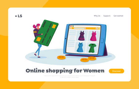 Online Shopping, Wireless Payment Landing Page Template. Tiny Female Customer Character with Credit Card Buying Goods