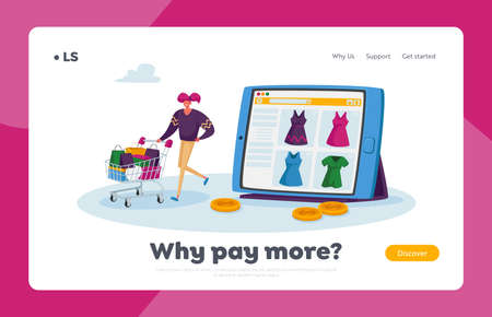 Online Shopping Landing Page Template. Tiny Character Purchase Dresses in Internet Store, Girl Pushing Trolley with Bags