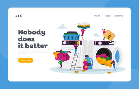 Tiny Characters Visiting LaundryLanding Page Template. People Loading Dirty Clothes to Huge Washing Machine, Launderette