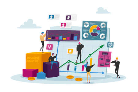 Business Analysis, Tiny Characters at Huge Monitor with Charts. Managers Analyze Information Analysing Graphs on Monitor