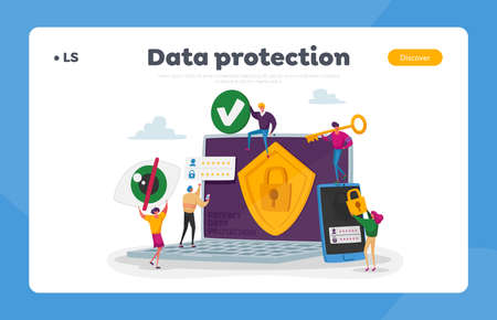 Privacy Data Protection, Internet Virtual Private Network Landing Page Template. Tiny Characters around of Huge Laptop 矢量图像