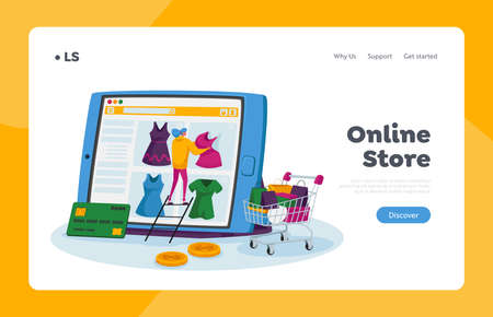 Online Shopping Landing Page Template. Tiny Female Customer Character Choose Dress on Huge Tablet Screen, Internet Store
