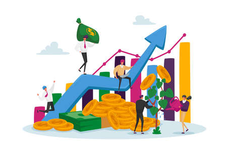 Income Growth Concept. Businesspeople Characters Teamwork Cooperation. Team of Businesspeople Climbing Growing Chart
