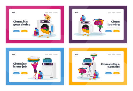 Tiny Characters Visiting Laundry Landing Page Template Set. People Loading Dirty Clothes to Washing Machine, Service 矢量图像