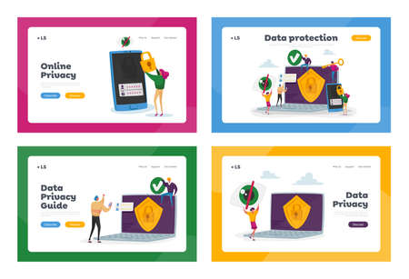 Privacy Data Protection in Internet, Virtual Private Network Landing Page Template Set. Tiny Characters at Huge Laptop