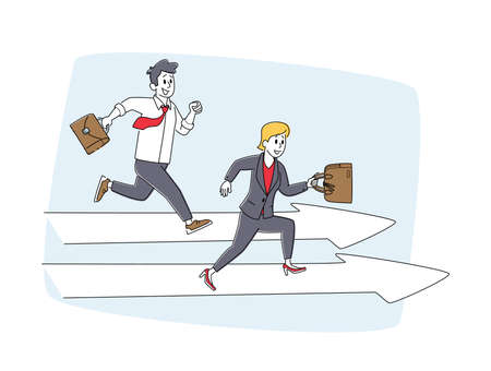 Careerist Chase, Business People Characters Social Climbers Running Competition. Businesspeople Hold Briefcase Run