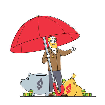Senior Businessman Character Stand under Umbrella with Money Show Thumb Up. Financial Protection, Insurance, Capital