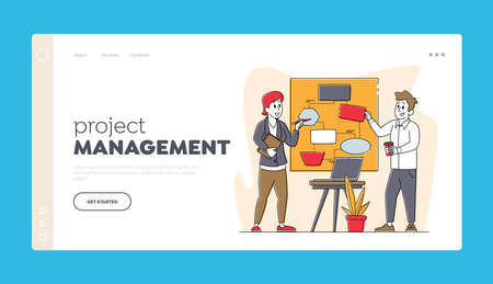 Teamwork Landing Page Template. Business Characters Chatting at Board Discuss Idea in Office. Team Project Development
