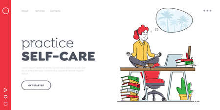 Calm Employee Break in Messy Office during Deadline Landing Page Template. Female Character Worker Meditate at Workplace Stock Illustratie