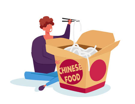 Tiny Man Holding Wooden Chopsticks in Chinese Fast Food Restaurant Sitting near Huge Takeaway Wok Box Eating Noodles 矢量图像