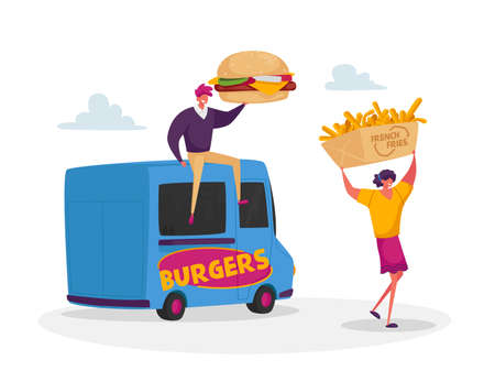 People Buy Street Food, Takeaway Junk Meals from Wheeled Cafe or Food Truck. Characters with Burger and French Fries