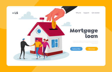 Mortgage and Home Buying Landing Page Template. Realtor Selling House to Couple Buying Home. New House