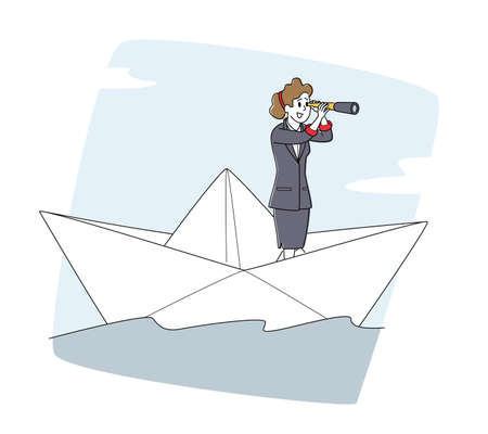 Business Woman Floating on Paper Ship. Female Character Looking in Spyglass Sailing on Boat in Open Sea or Ocean Waves 向量圖像