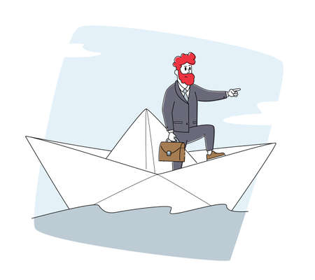 Businessman Character Stand on Paper Boat Stern Pointing with Finger Ahead. Risk, Searching Solution, Goal Achievement