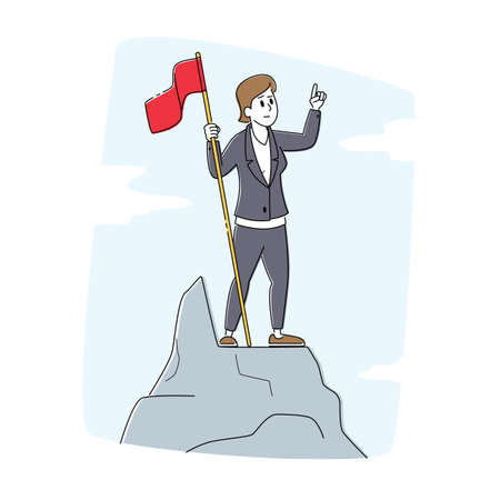Leadership, Winner, Challenge Goal Achievement, Successful Manager Concept. Businesswoman Hoisted Red Flag on Top