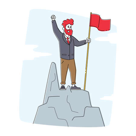 Business Man Character with Red Flag Waving Hand Standing on Top of Mountain Peak. Successful Businessman on Rock