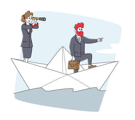 Business People Riding Ship on Sea Waves. Businesspeople Team on Paper Boat Sailing Toward Profit. Characters Floating