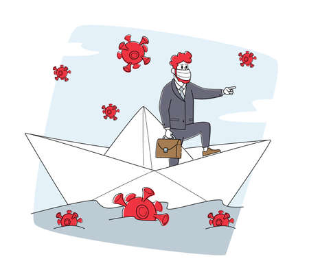 Business Man in Medic Mask Floating on Paper Boat with Covid Cells around. Leader Businessman Character Survive 向量圖像