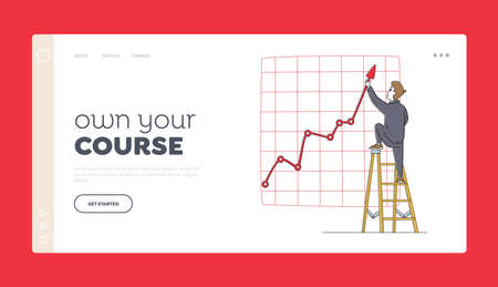 Project Presentation, Financial Statistics Graph Landing Page Template. Businessman Character Stand on Ladder with Arrow