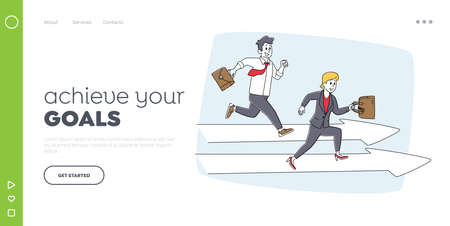 Leadership, Colleagues Sprint Landing Page Template. Careerist Chase, Business People Characters Running Competition 向量圖像