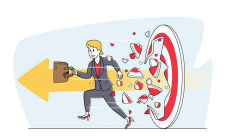Businesswoman with Briefcase Breaking Through Huge Target with Arrow, Business Aim Mission, Challenge, Task Solution