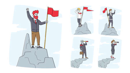 Set of Business Characters with Flag and Spyglass on Top of Mountain Peak. Successful Businessmen or Women on Rock 向量圖像