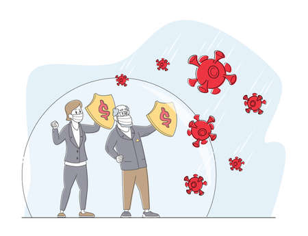 Business Leader Characters inside of Huge Bubble Screen Protect from Covid with Shields. Defense Coronavirus or Covid 19