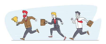 Leadership, Goal Achievement Concept. Colleagues Follow Successful Leader. Businesspeople Team Characters Running by Row