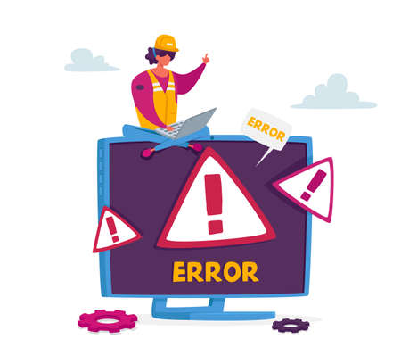 Tiny Female Character in Worker Uniform Sit on Huge Pc Monitor with System Error Warning on Screen. Professional Help