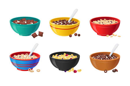 Set Ceramic Bowls with Cereals Breakfast, Milk, Chocolate and Berries. Healthy Food Concept. Realistic Colorful Plates