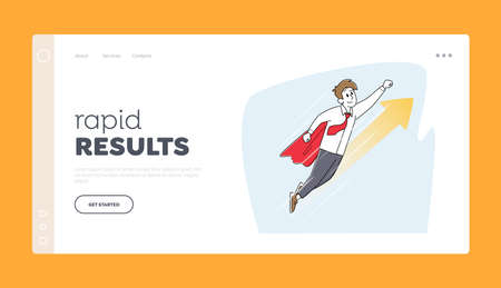Business Success, Leadership, Professionalism and Goal Achievement Landing Page Template. Superhero Businessman Flying Vettoriali