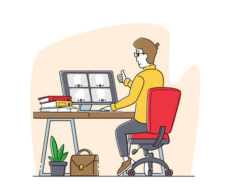 Business Agreement. Employee Speak on Video Call with Remote Colleagues on Online Briefing, Workers Webcam Conference Vector Illustratie