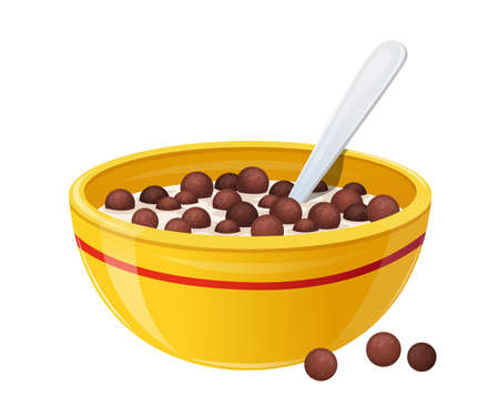 Cereals Breakfast with Milk in Ceramic Bowl Concept. Realistic Soup Plate with Red Stripe and Spoon with Crunchy Balls
