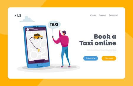 Man Using Application for Ordering Taxi Landing Page Template. Tiny Male Customer Character Order Taxi via App with Map