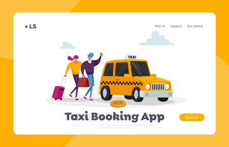 People Order Auto via App Landing Page Template. Couple Waiting Taxi Car on Street. , Passenger Delivery Service