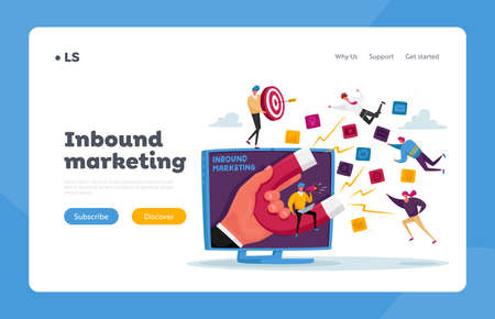 Businessman Character Attracting Clients Landing Page Template. Huge Hand on Monitor with Magnet Attracting Leads Vettoriali