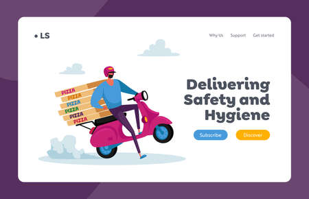 Safe Food Delivery Landing Page Template. Courier Character Delivering Order to Customer During Coronavirus Pandemic
