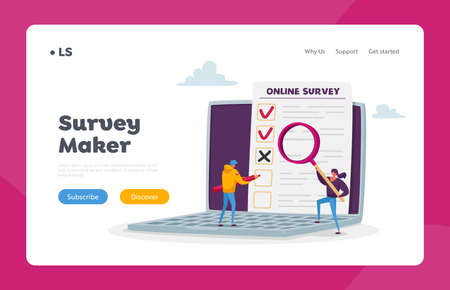 Online Survey, Customer Feedback, Service Rate, Voting Landing Page Template. Tiny Characters with Pencil and Magnifier
