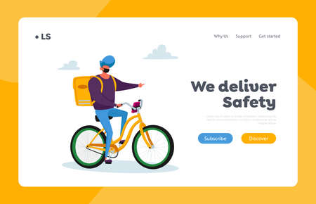 Goods Shipping and Transportation Landing Page Template. Courier Male Character Delivering Food to Customer on Bike