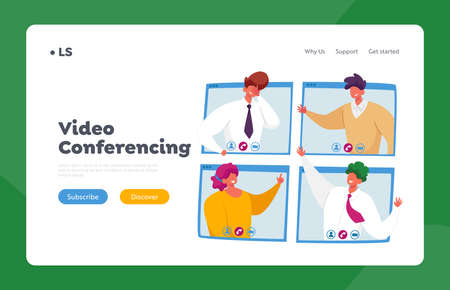 Webcam Group Conference Landing Page Template. Business Characters, Office Employees Speak on Video Call with Colleagues