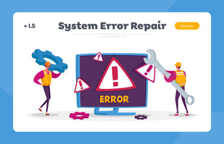 System Error, Website Under Construction Landing Page Template. 404 Page Maintenance. Workers Repairing Network Problem